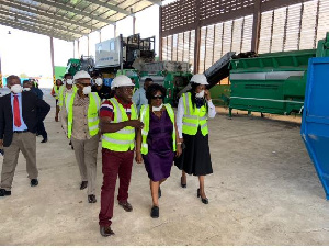 Sanitation Minister, Cecilia Dapaah, inspecting the composting and recycling facility