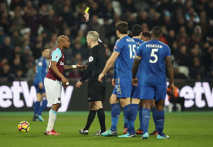 Andre Ayew received a yellow card for simulation in the game against Leicester City