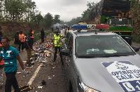 The Police Patrol Vehicle collided with KIA Grand Bird Bus