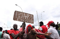Some Togolese nationals protesting