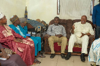 Prof Joshua Alabi and Nii Amasah Namoale interact with some Zongo Chiefs