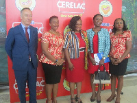 Otiko Afisa Djaba with Philippe Hascoet, Professor Afua Hesse and Dr. Gloria Otu