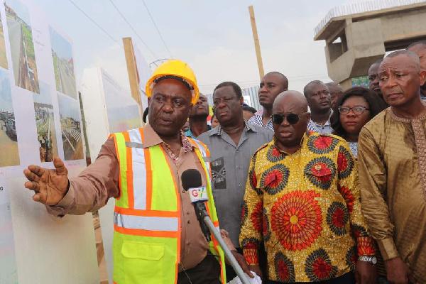 President Akufo-Addo inspecting progress of work on the footbridges