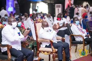 Vice President, Dr. Mahamudu Bawumia , President Akufo-Addo and NPP Chairman, Freddie Blay