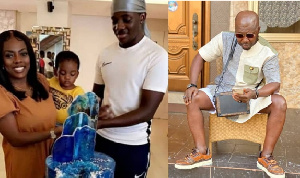 Broadcaster, Nana Aba Anamoah (L), his son (in white) and Osebo the Zaraman (R)
