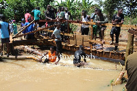 Bridge constructed by residents of Nyamekrom