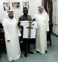 Bright Adjei displays his new jersey