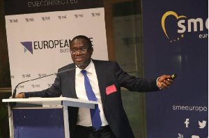 Dr. Siaw Agyepong speaks at the European Parliament in Brussels