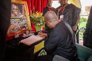 President John Dramani Mahama signs the condolence book