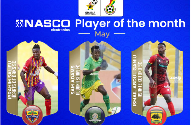 Salifu Ibrahim competes with Abdul Ganiu, Sam Adams for NASCO Player of the Month of May