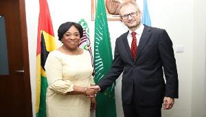 Foreign Affairs Minister, Shirley Ayorkor Botchway with Swiss Ambassador Phillip Stalder