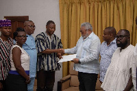 The Coalition presenting the petition to Former President Jerry John Rawlings