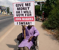 A photo of the 'Give me money or I'll vote for Mahama' campaign