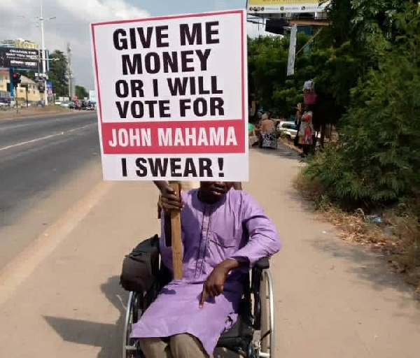 \'Give me money or I'll vote for Mahama\' campaign hit the streets of Accra