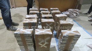 The 152 cocaine which was intercepted at Tema Harbour