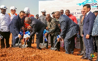 President Akufo-Addo and Energy Minister, Boakye Agyarko lead the team to cut the sod