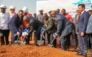President Akufo-Addo and Energy Minister, Boakye Agyarko lead the team to cut the sod
