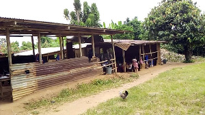 The over hundred-year-old school mud building was constructed by the community