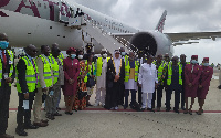 The Aircraft cabin crew members of the first Qatar Airways flight to Kotoka International Airport