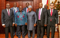 President Akufo-Addo with some officials when they paid a courtesy call on him at the Presidency