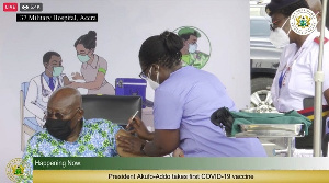 President Akufo-Addo took the first jab of the coronavirus vaccine Live on TV in March