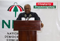 Former president John Dramani Mahama on a campaign stage