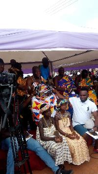 Awulea Amihere Kpanyinli III addressing the gathering at the 2018 Kundum Festival