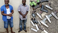 The alleged coup plotters and an image of their weapons