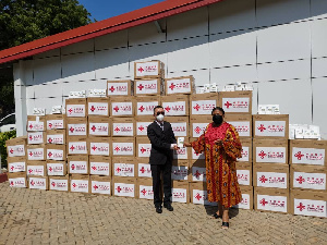 First Lady, Rebecca Akufo-Addo receiving the items