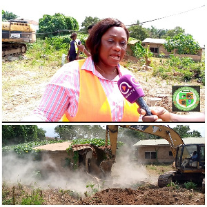 MCE of Ga East Assembly, Janet Tulasi Mensah speaking with the media during the exercise