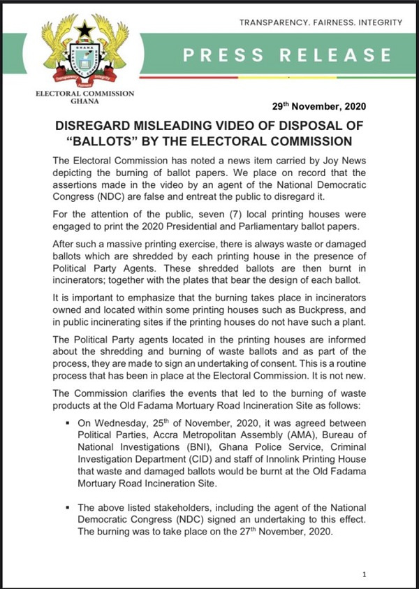 Election 2020: Disregard misleading video depicting 'disposal' of ballots – EC 1