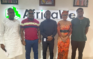 MyNigeria's Babatunde Adeola (middle) with NANS-Ghana delegation at AfricaWeb offices in Accra