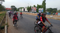Chief Executive Officer (CEO) of Vodafone Ghana, Yolanda Cuba led a team of employees to cycle