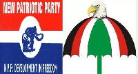 Logo of the New Patriotic Party on the left and that of National Democratic Congress on the right