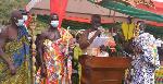 Mpraesohene, Nana Ampadu Daaduam II addressing the crowd at the inaugural ceremony