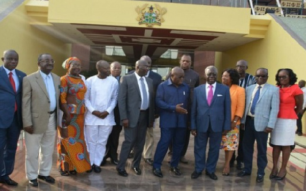 Some of the appointees with the President and his Vice.