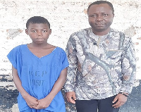 15-year-old Adom with CrimeCheck Ghana boss