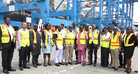 The joint delegation in a group photo at the premises of Tema Habour