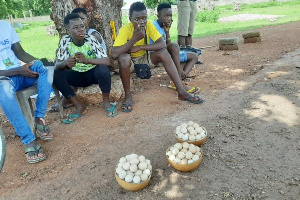 Some of the children selling along the Bolgatanga-Navrongo highway in the Upper East Region