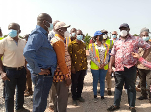 Kwesi Amoako-Atta addressing the media in Wa after inspecting work on the roads that were washed-off