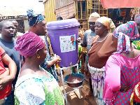 The handwashing kits was presented to patrons of Salaga old market and Salaga bus station