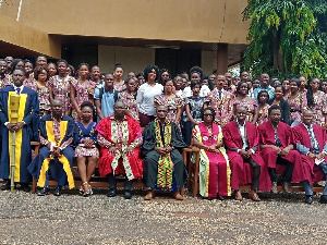 Prof Ohene Afoakwa (2nd from left) in group photograph with dignitaries and matriculants
