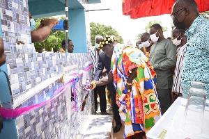 Kontihene of Pepease, Nana Aboagye Nketia II, unveiling the boreholes