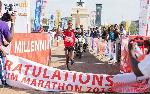 Ismael Arthur crosses the finish line