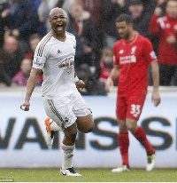Andre Ayew struck a double to down Liverpool