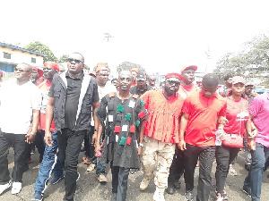 Leading members of NDC lead the frontline of demonstrations against the voters register