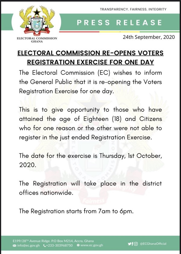 Electoral Commission to reopen voters register on October 1 1