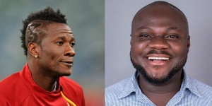 Asamoah Gyan and journalist Anthony Osarfo