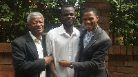Charles Antwi (middle) flanked by his lawyers