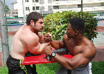 Fawzi George Sauod in a battle with Derrick Adu Kwakye